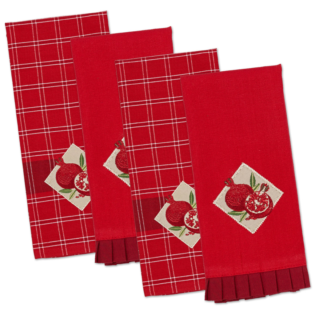 Pomegranate Emb Dishtowel And Finger Tip Towel S/4