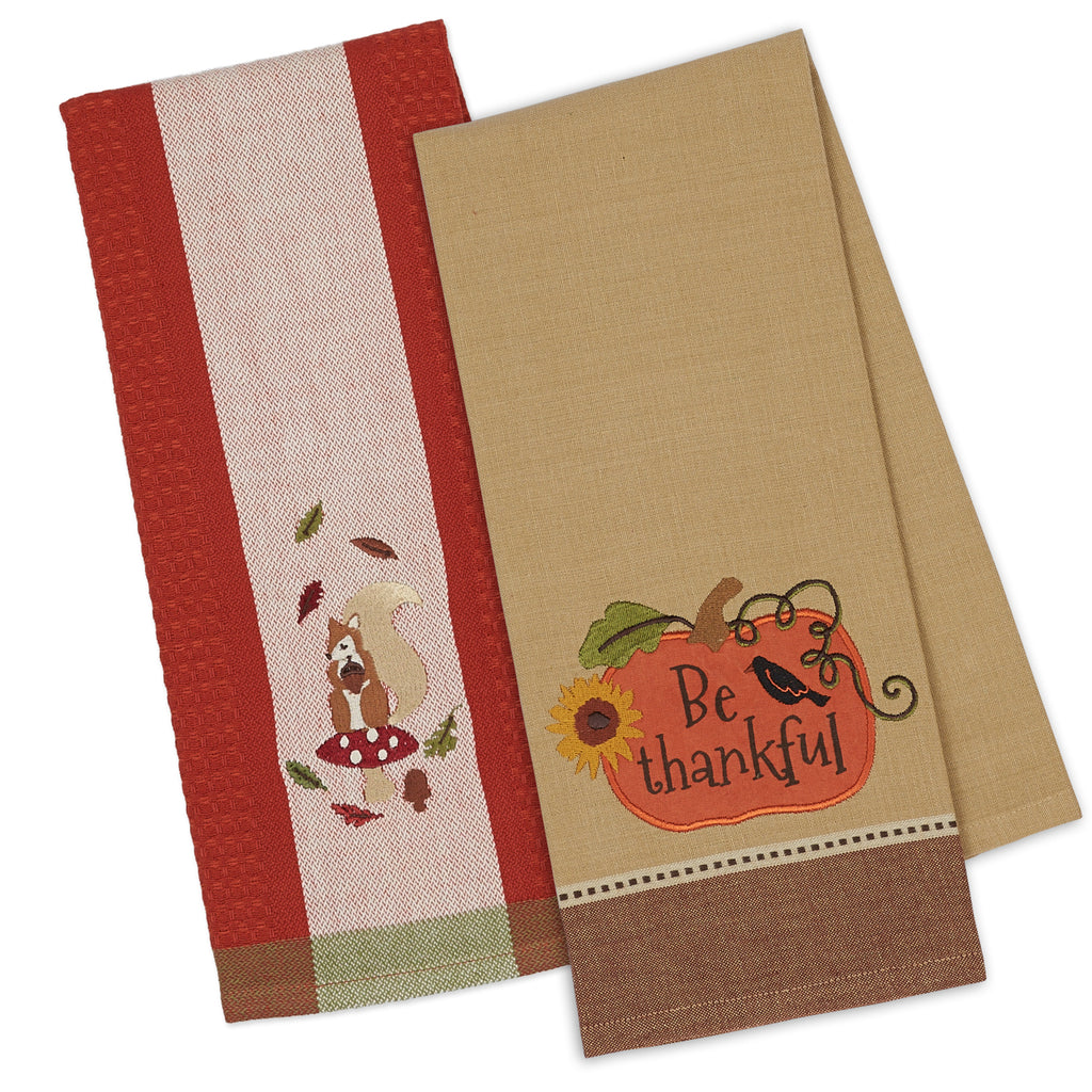 Autumn Squirrel & Pumpkin Emb Dishtowel