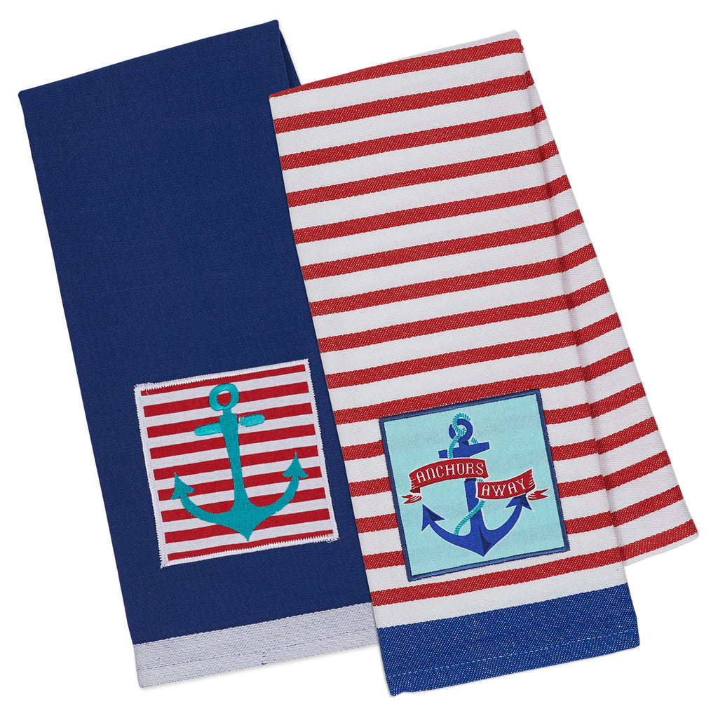 Anchors Away Embellished Dishtowel