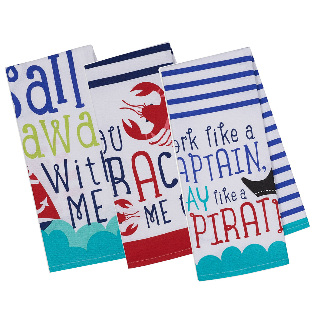 Sail Away Printed Dishtowel