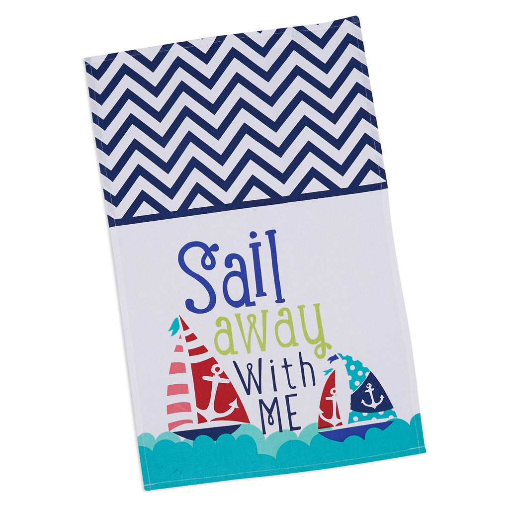 DII Sail Away Printed Dishtowel