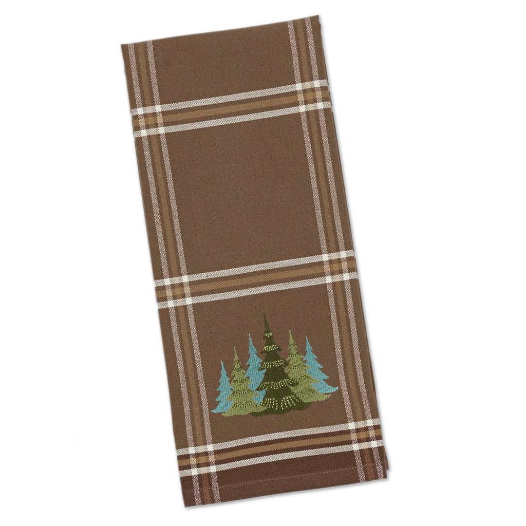 DII Pine Woods Embroidered Dishtowel