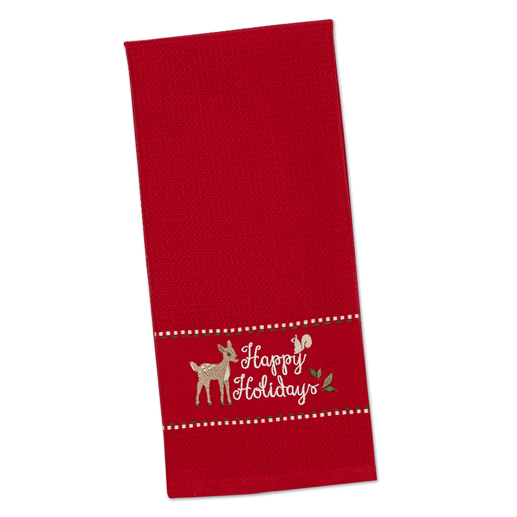 DII Happy Holidays Embroidered Dishtowel