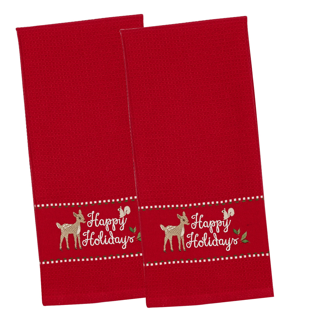 Happy Holidays Emb Dishtowel