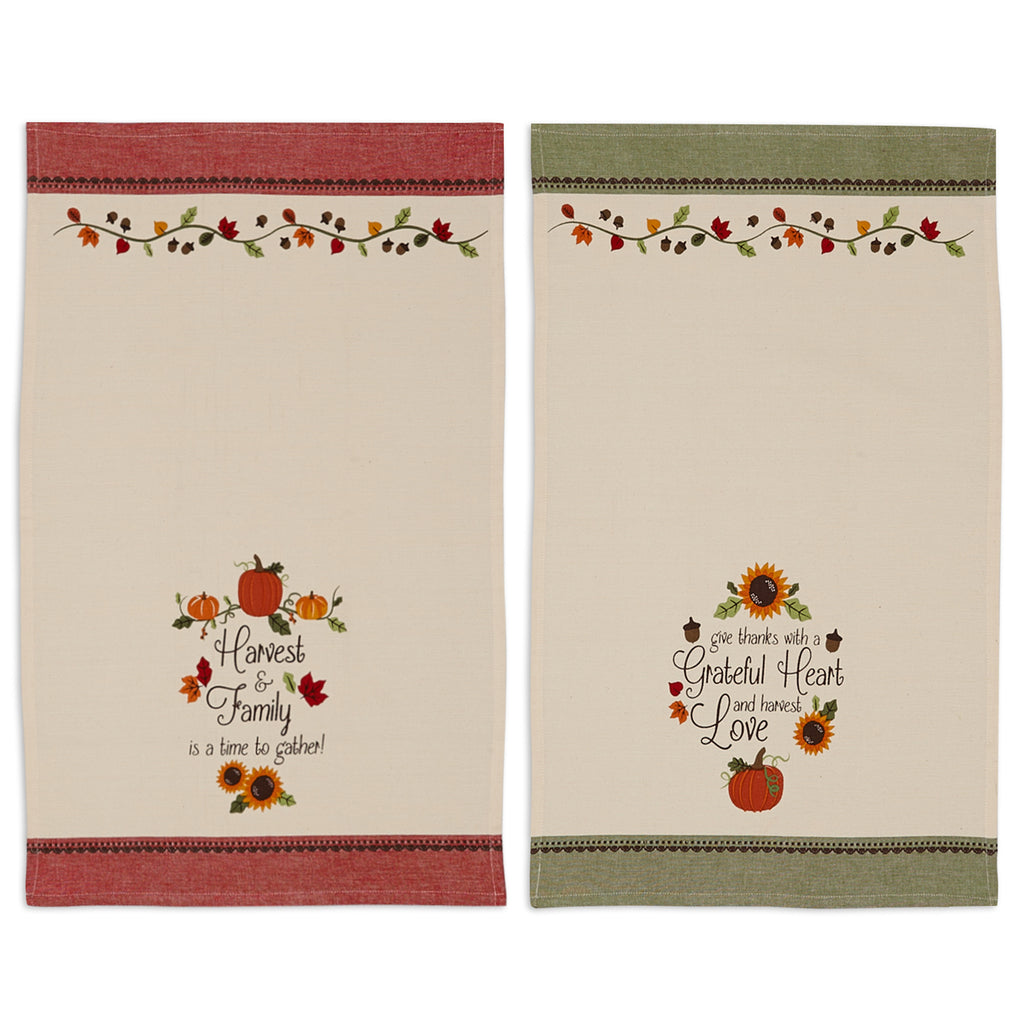 Thankful Harvest Printed Dishtowels