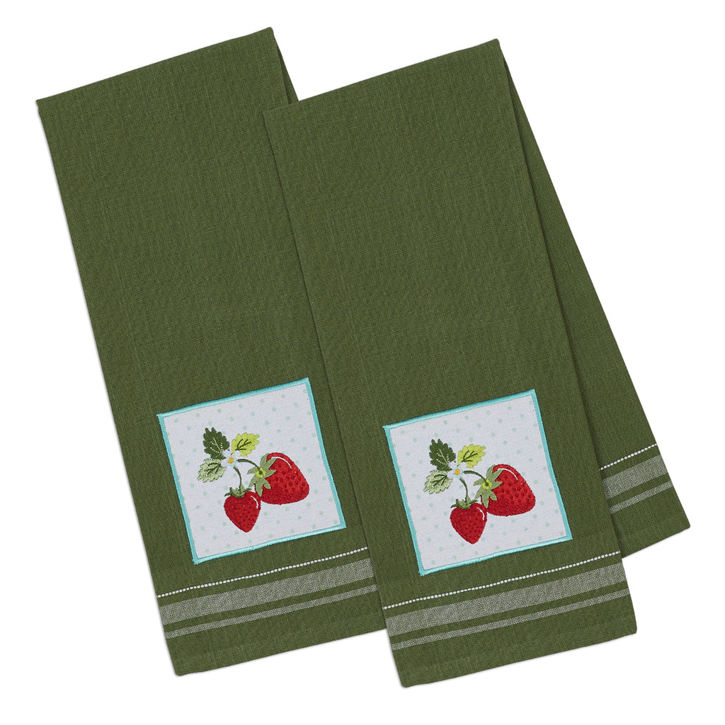 Strawberries Embellished Dishtowel