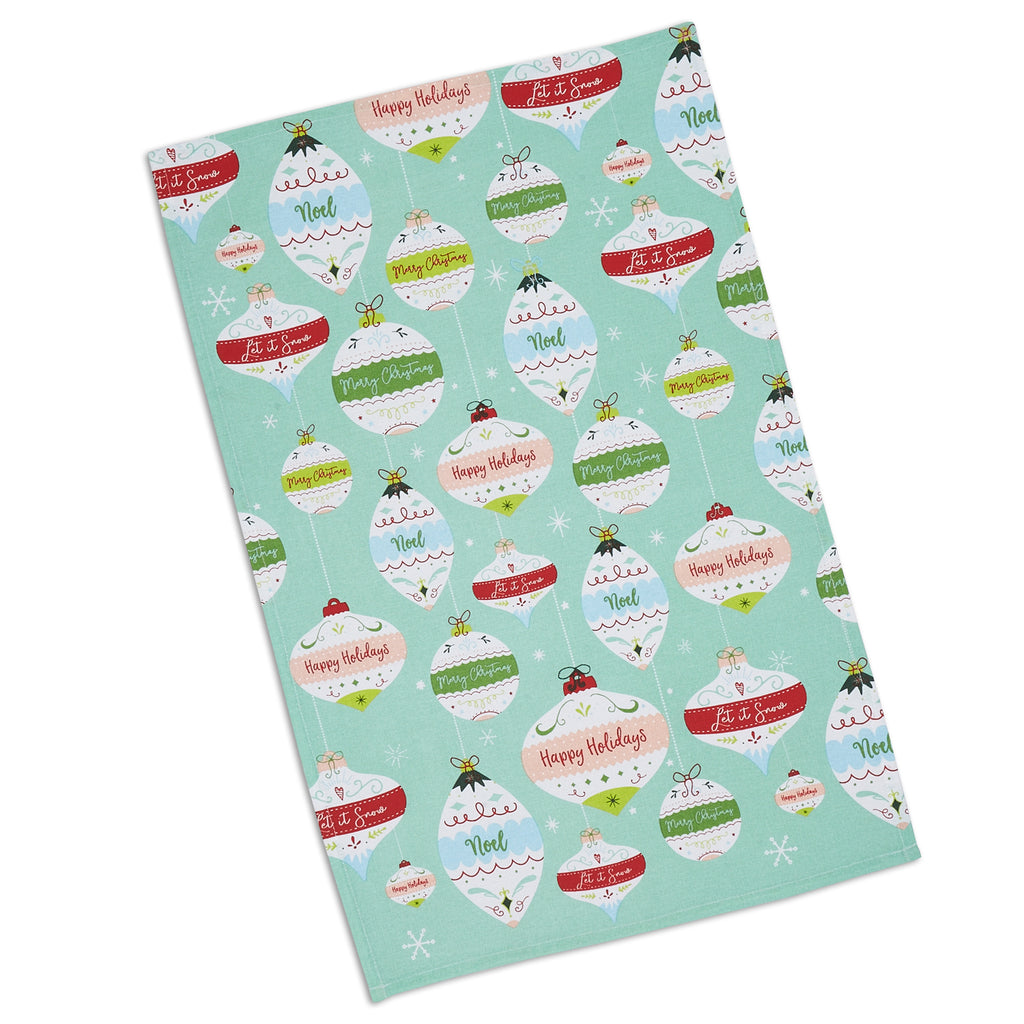 DII Holiday Ornaments Printed Dishtowel
