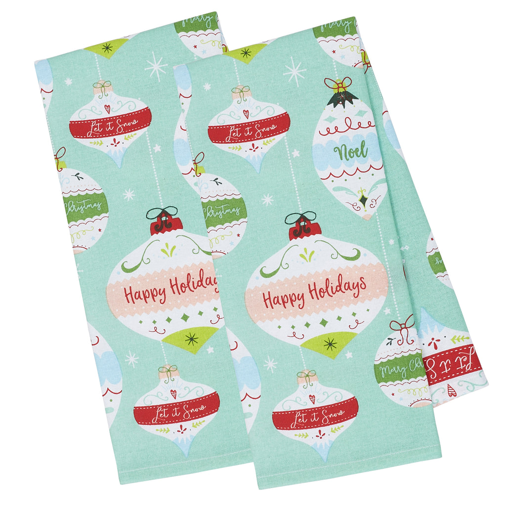 Holiday Ornaments Printed Dishtowel