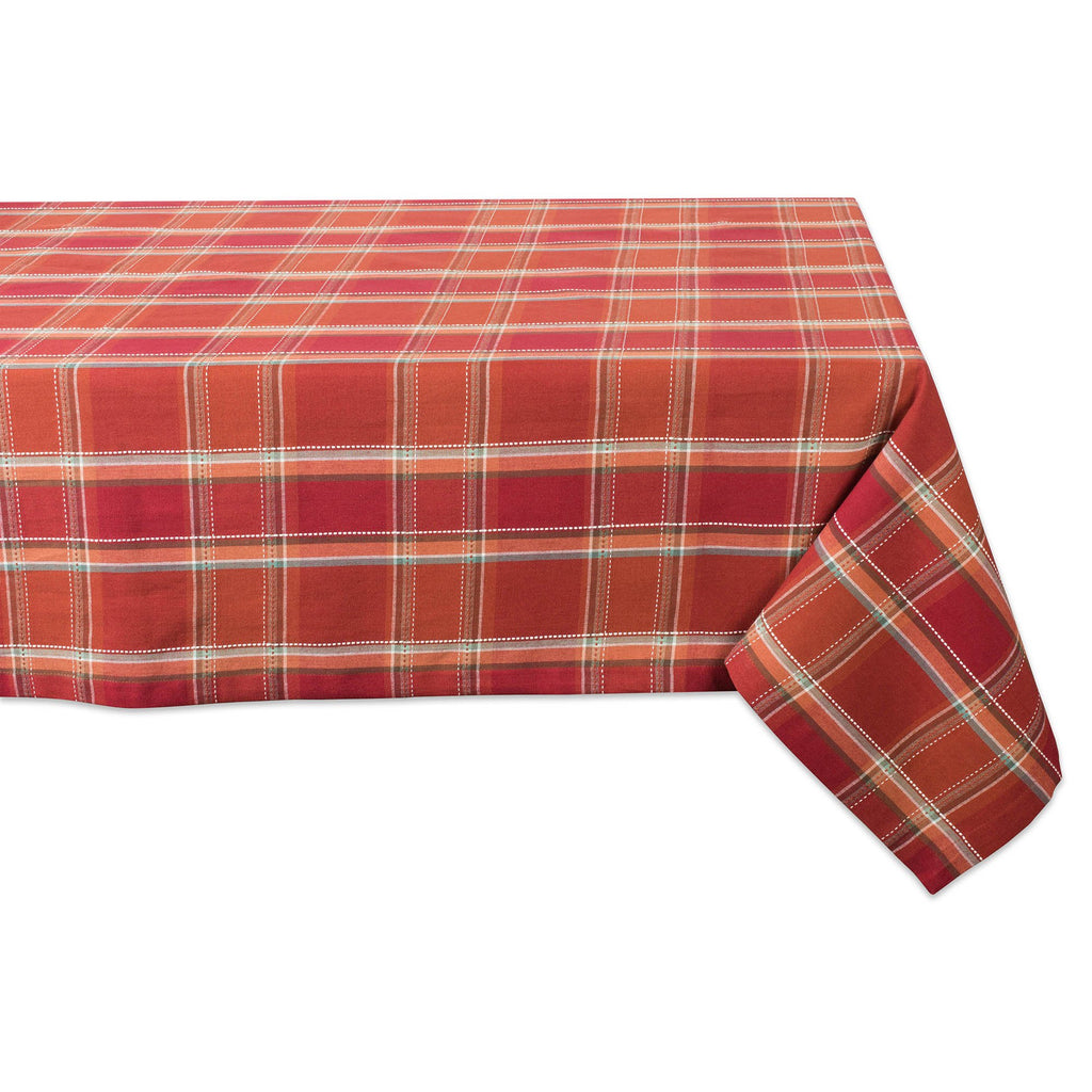 Autumn Spice Plaid Tablecloth 52x52
