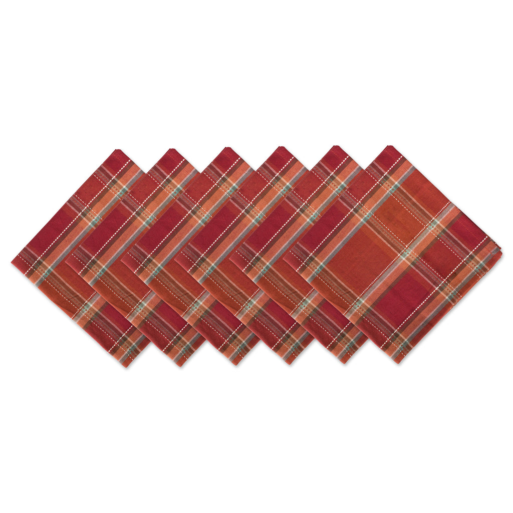 Autumn Spice Plaid Napkin Set/6