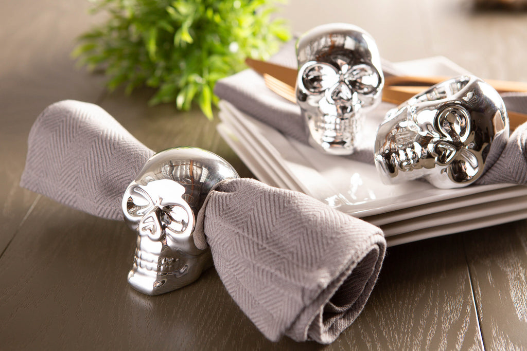 DII Silver Skull Napkin Ring (Set of 6)