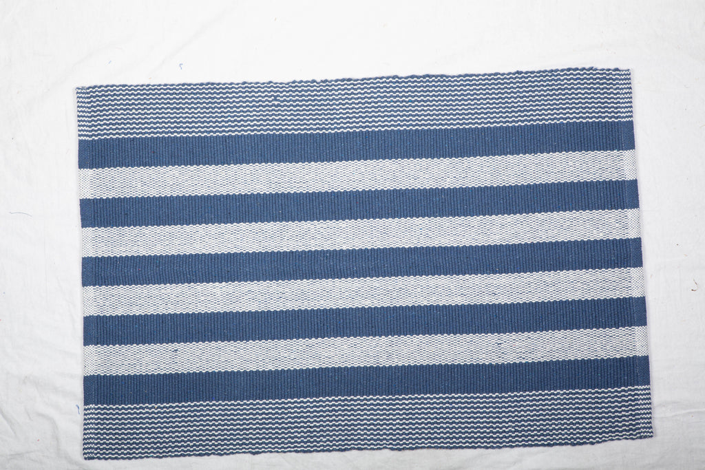 French Blue Cabana Stripe Recycled Yarn Rug 2x3 Ft