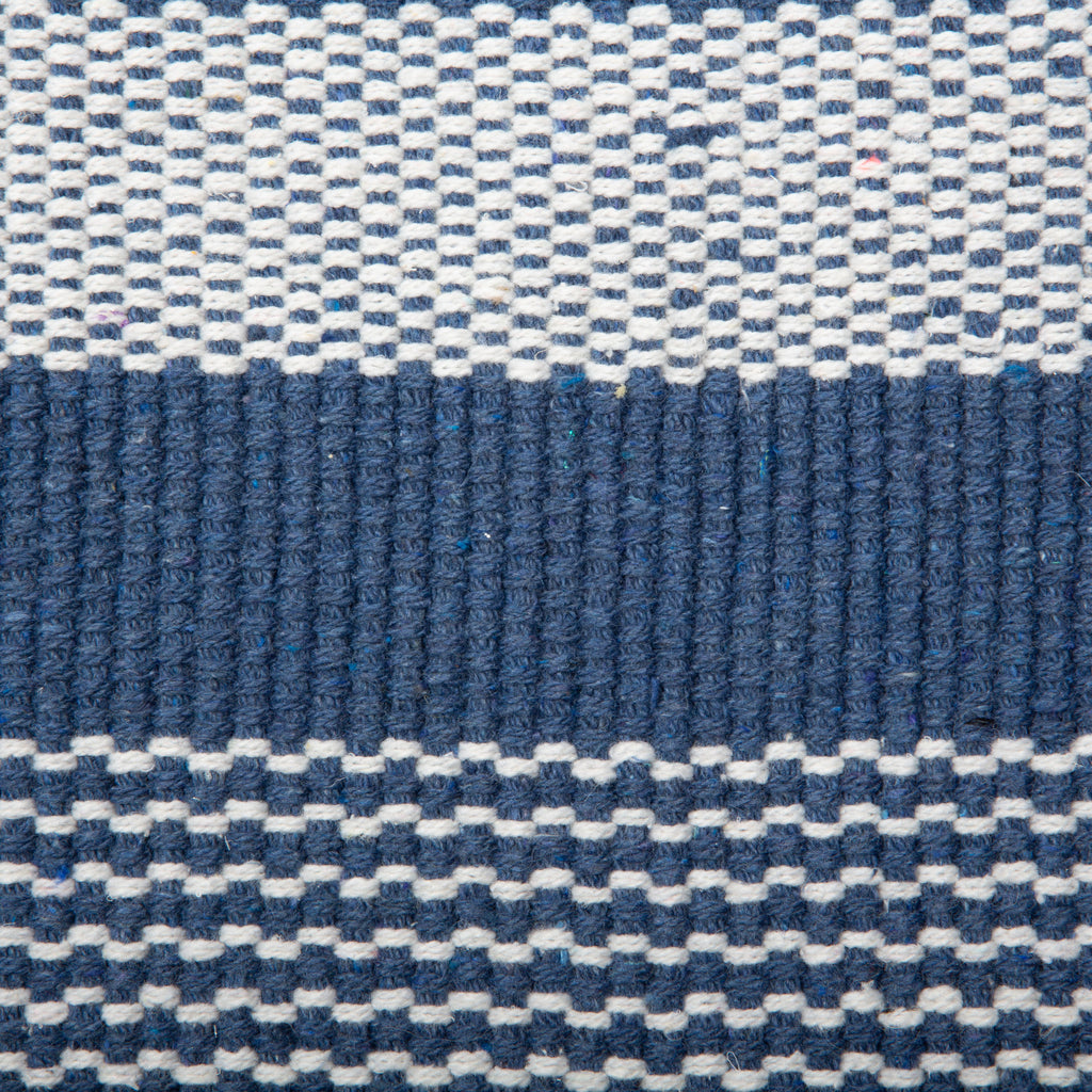 DII French Blue Cabana Stripe Recycled Yarn Rug