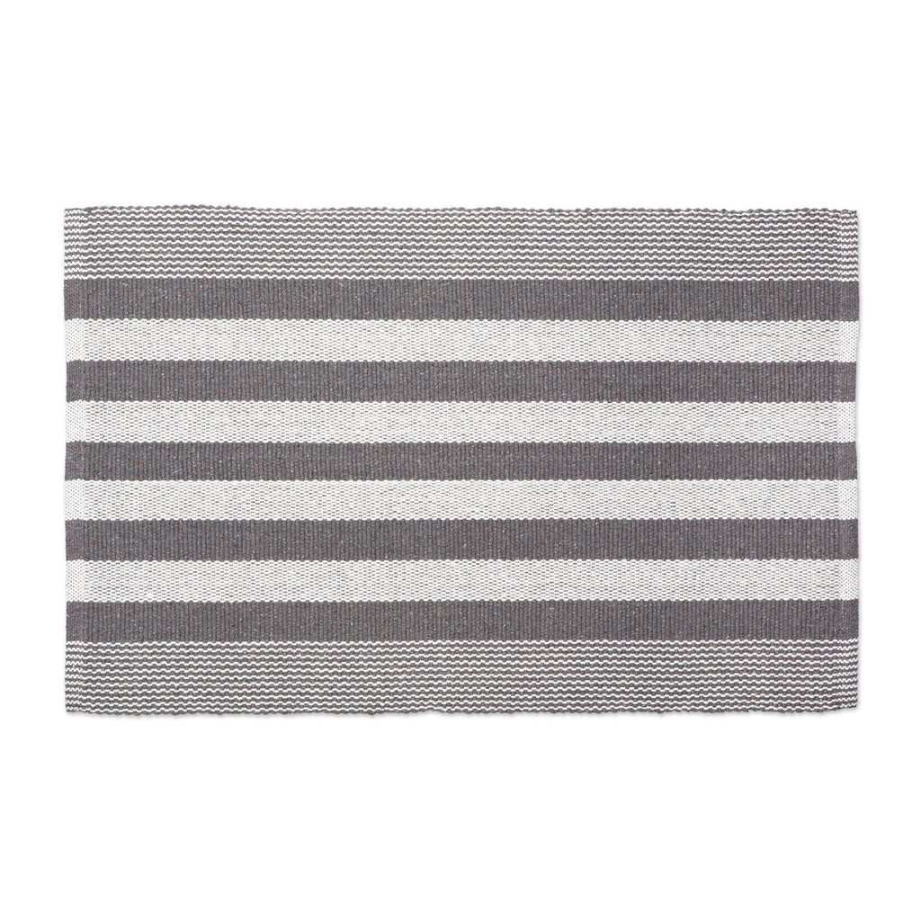 Gray Cabana Stripe Recycled Yarn Rug 2x3 Ft
