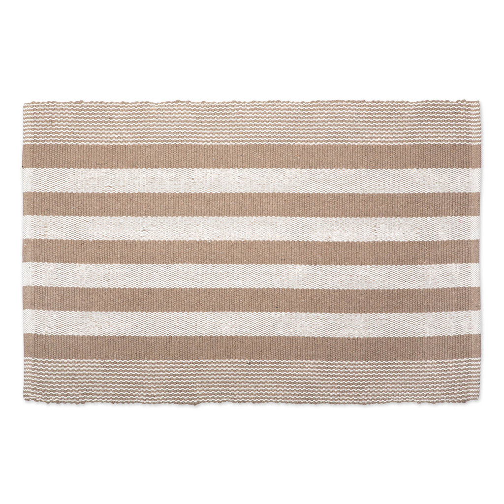 Stone Cabana Stripe Recycled Yarn Rug 2x3 Ft