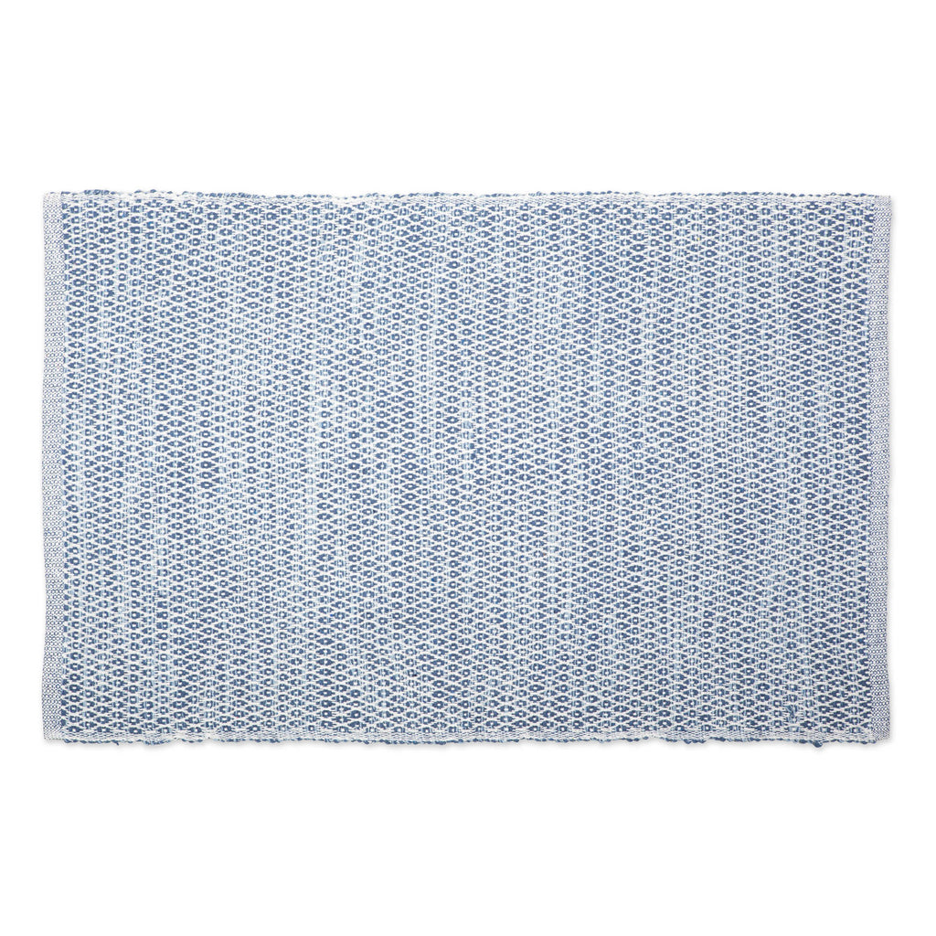 French Blue Diamond Recycled Yarn Rug 2x3 Ft