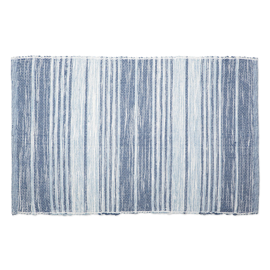 Variegated French Blue Recycled Yarn Rug 2x3 Ft