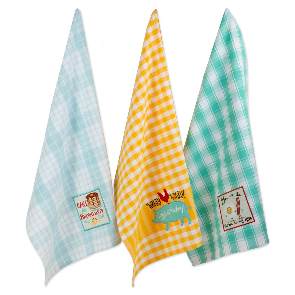 Rise & Shine Breakfast Embroidered Dishtowel Set/3