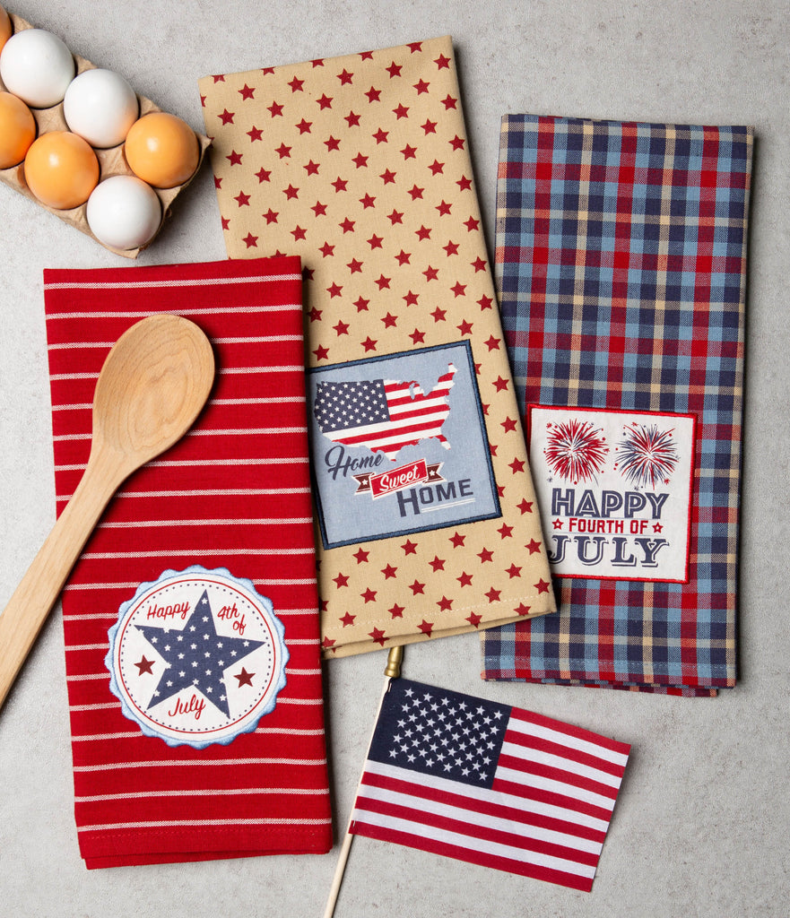 DII Happy 4th Of July Embroidered Dishtowel (Set of 3)