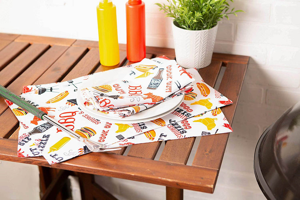 DII  Bbq  Fun  Print  Outdoor   Placemat  (Set  of  6)