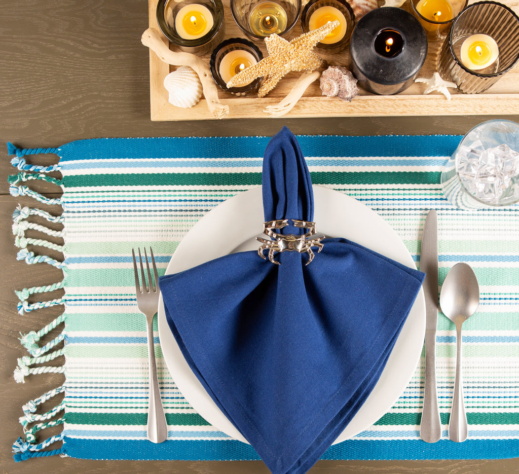 DII Tidal Stripe Fringed Placemat (Set of 6)