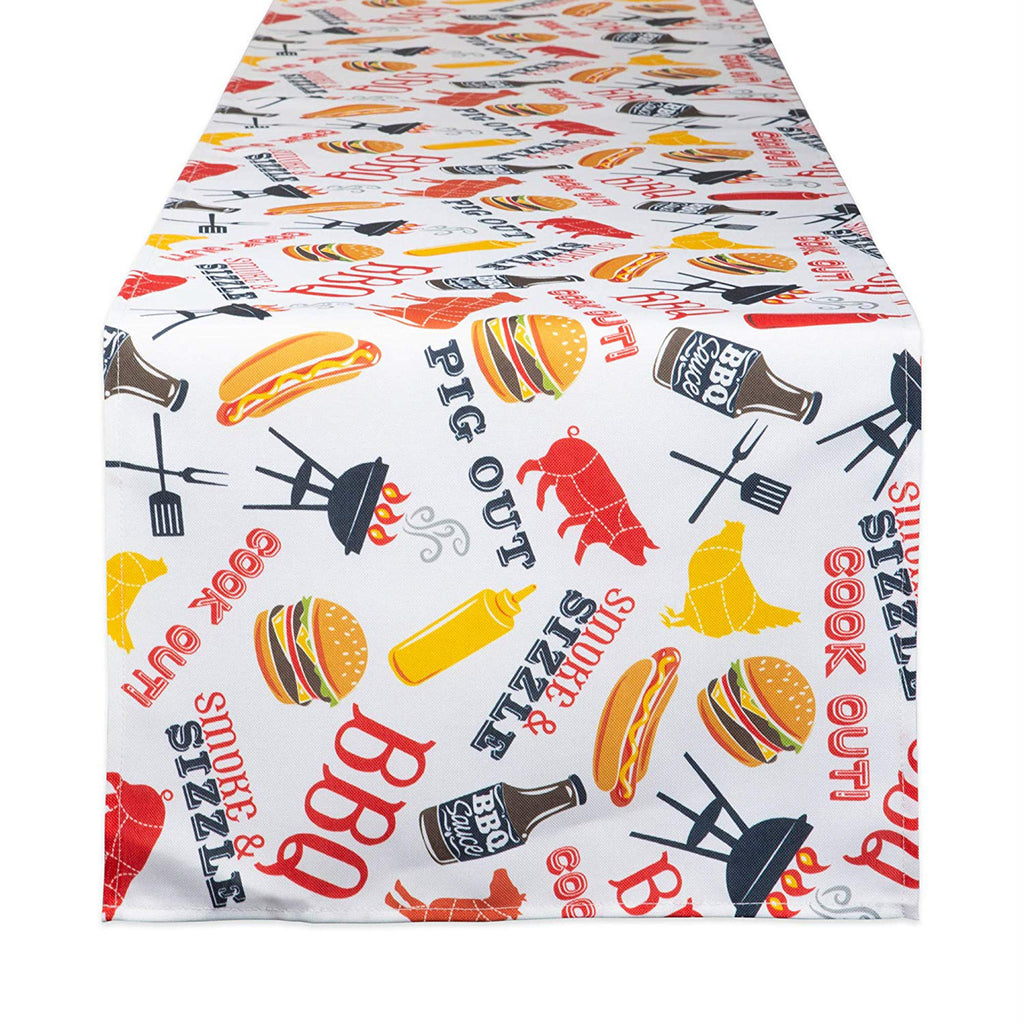 Bbq Fun Print Outdoor Table Runner 14x72