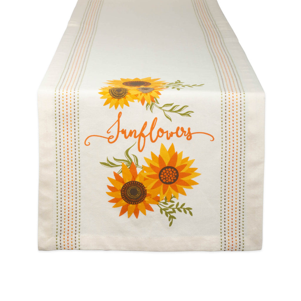 Sunflowers Print Table Runner 14x72