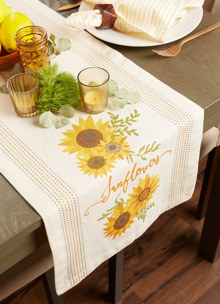 DII Sunflowers Print Table Runner, 14x72""