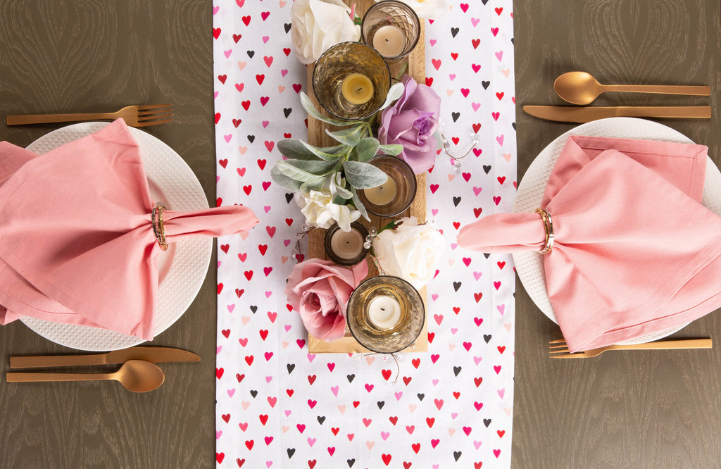 DII Confetti Hearts Print Table Runner, 14x72""