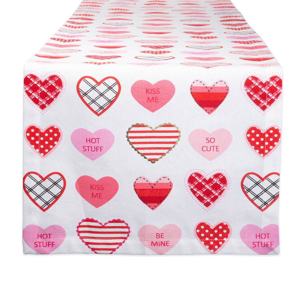 Sweet Hearts Print Table Runner 14x72