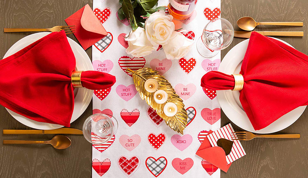 DII Sweet Hearts Print Table Runner, 14x72""
