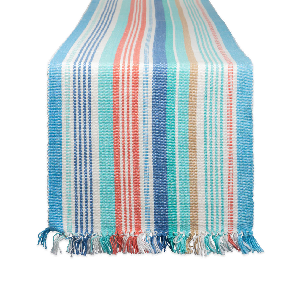 Seashore Stripe Fringed Table Runner 13x72