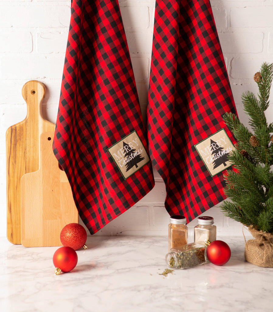 DII Merry Christmas Tree Embroidered Dishtowel(Set of 2)