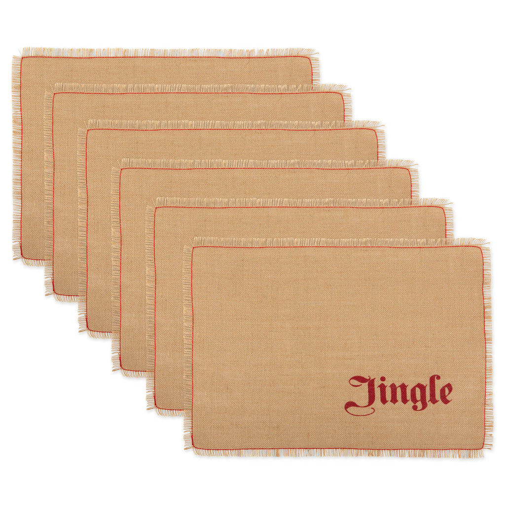 Merry/Jingle Burlap Placemats Set Of 6
