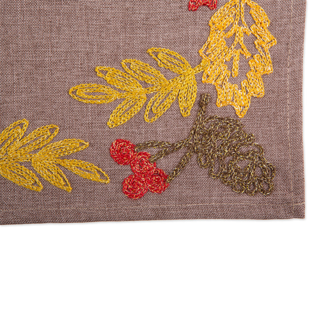 DII Shimmering Leaves Embroidered Placemat(Set of 4)