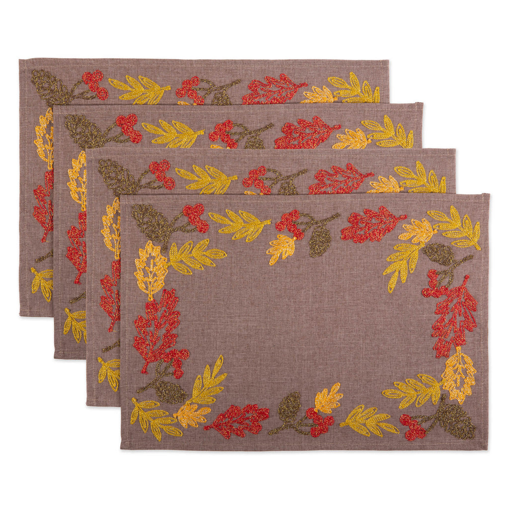 Shimmering Leaves Embroidered Placemat Set Of 4