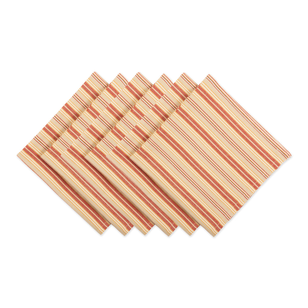 Harvest Ticking Stripe Napkin Set Of 6
