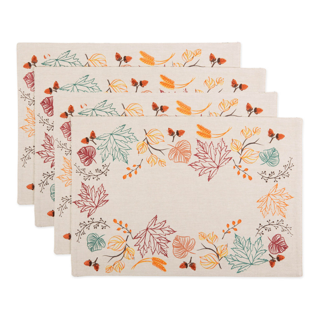 Autumn Leaves Embellished Placemat Set Of 4