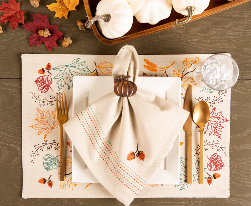 DII Autumn Leaves Embellished Placemat(Set of 4)