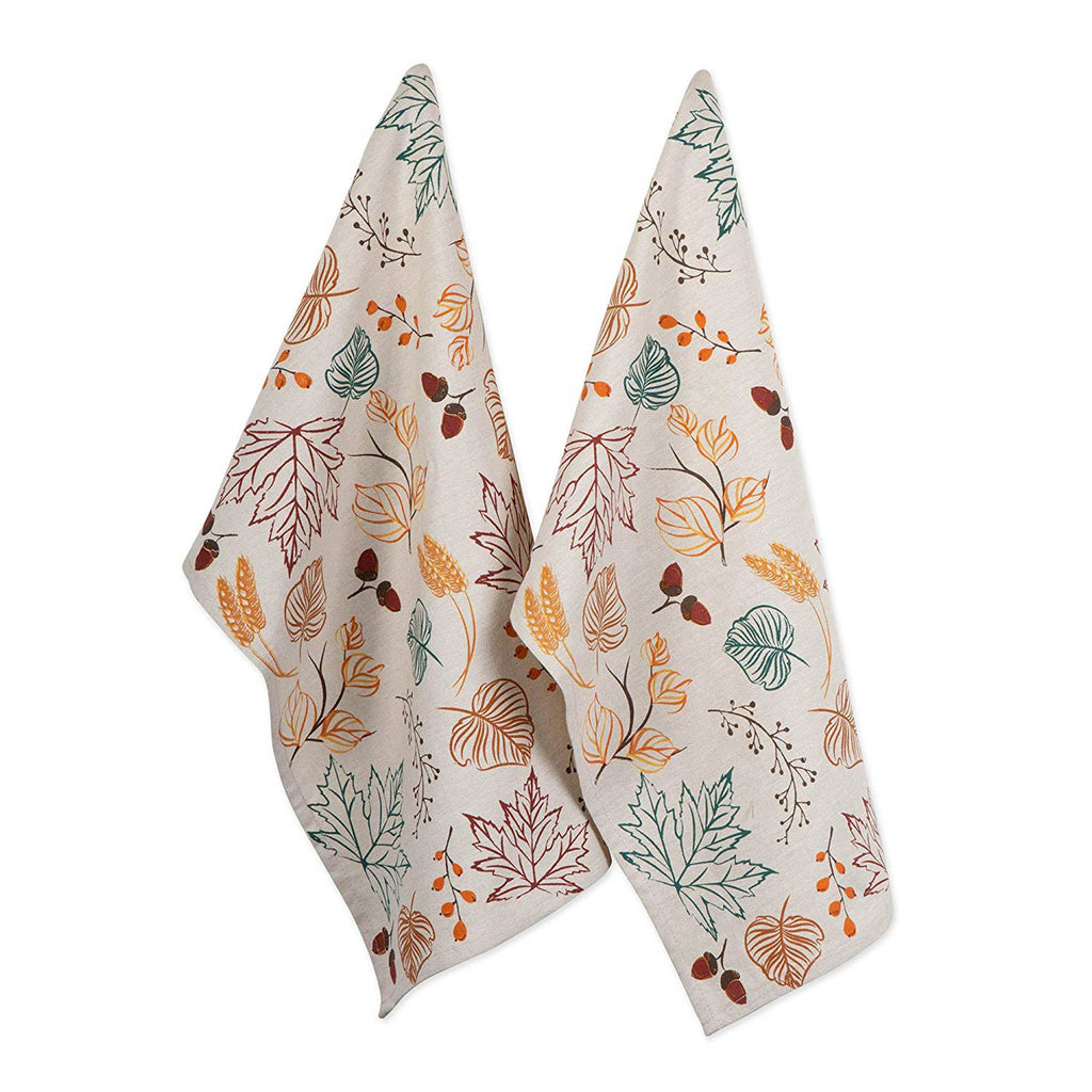 Autumn Leaves Printed Dishtowel Set Of 2