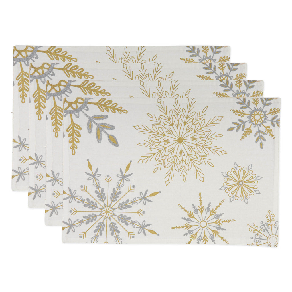 Sparkle Snowflakes Embellished Placemat Set Of 4