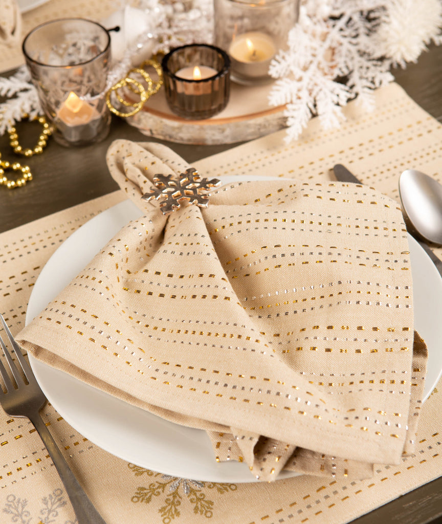 DII Silver & Gold Dobby Stripe Napkin(Set of 6)