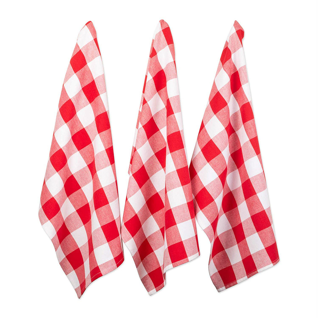 Red & White Buffalo Check Dishtowel Set/3