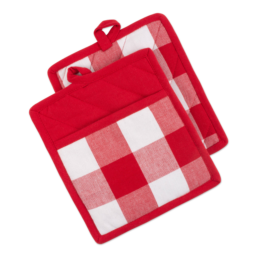 Red & White Buffalo Check Potholder Set/2