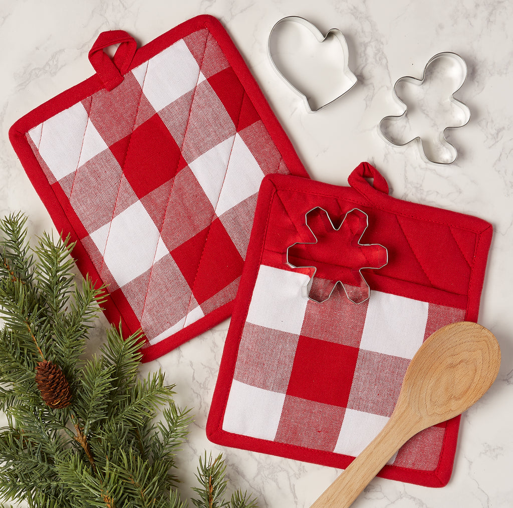 DII Red & White Buffalo Check Potholder (Set of 2)