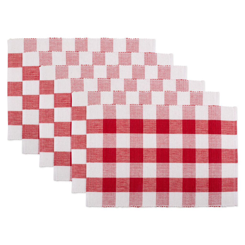 Red & White Buffalo Check Ribbed Placemat Set/6