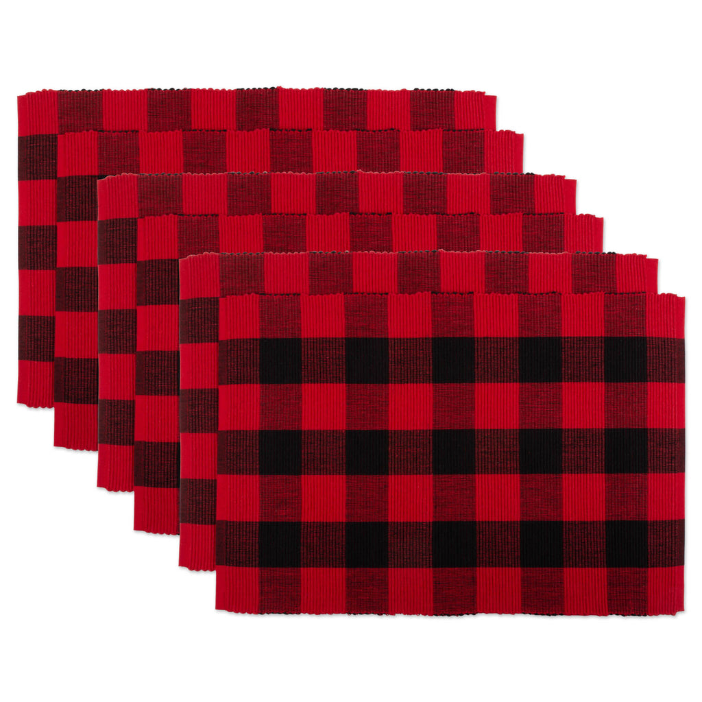 Red Buffalo Check Ribbed Placemat Set/6