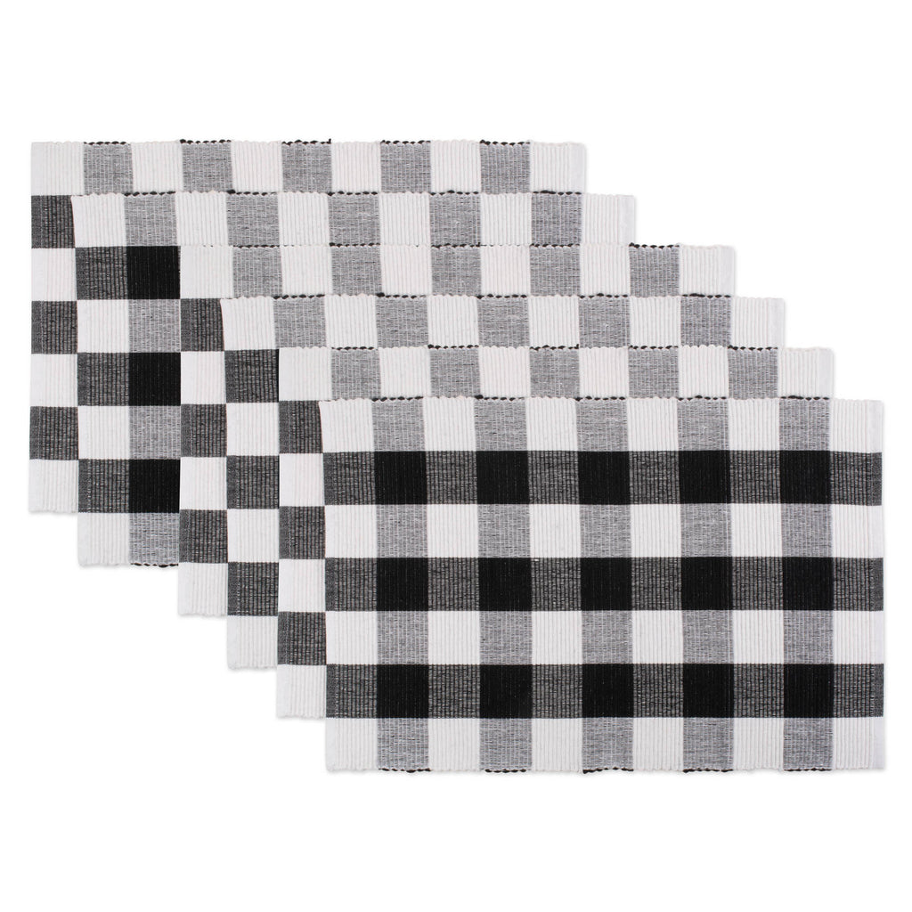 Black Buffalo Check Ribbed Placemat Set/6