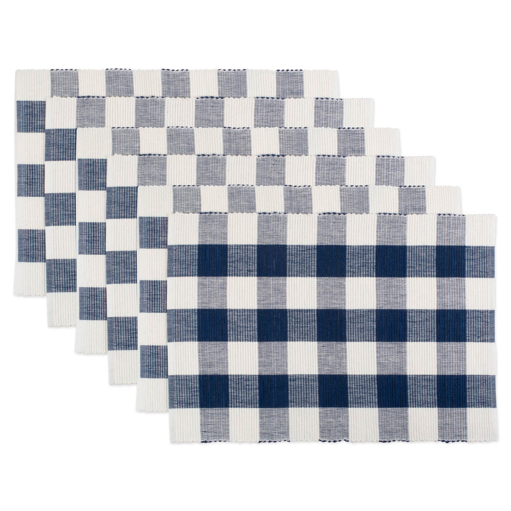 Navy Buffalo Check Ribbed Placemat Set/6