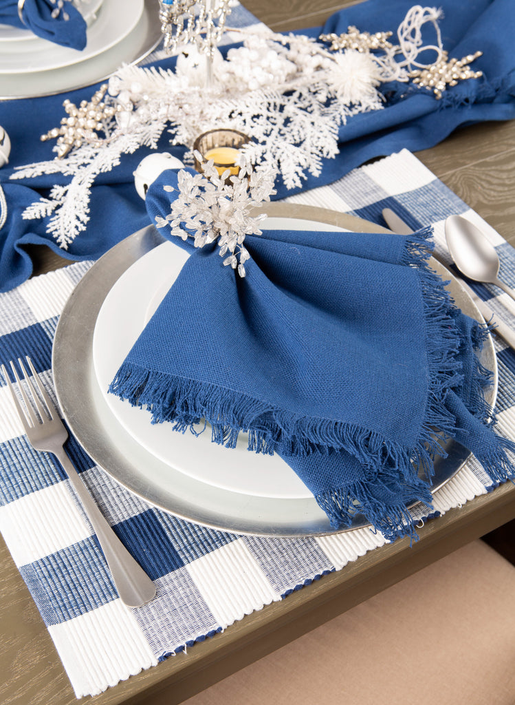 DII Navy Buffalo Check Ribbed Placemat (Set of 6)